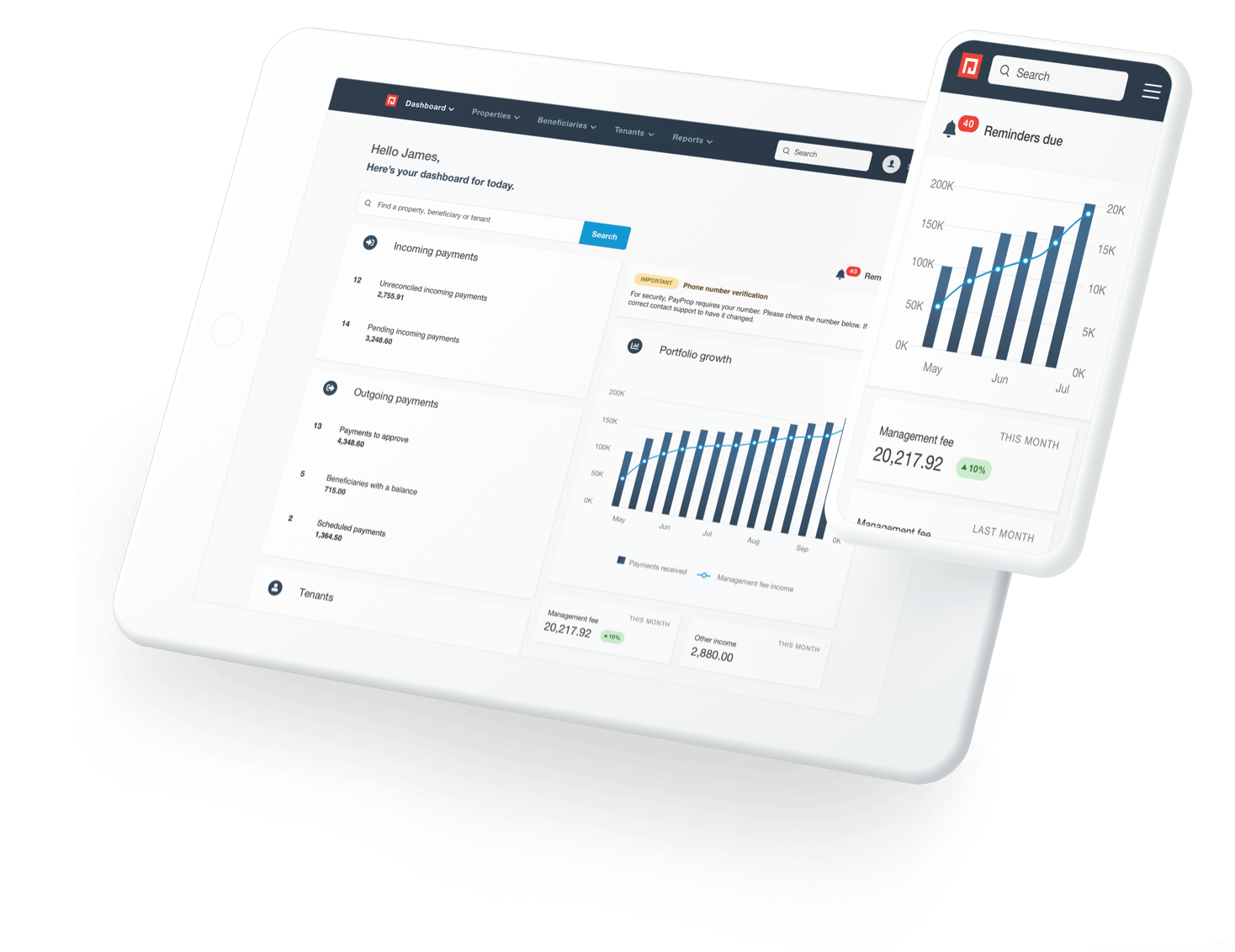 Letting Agent Software - dashboard view